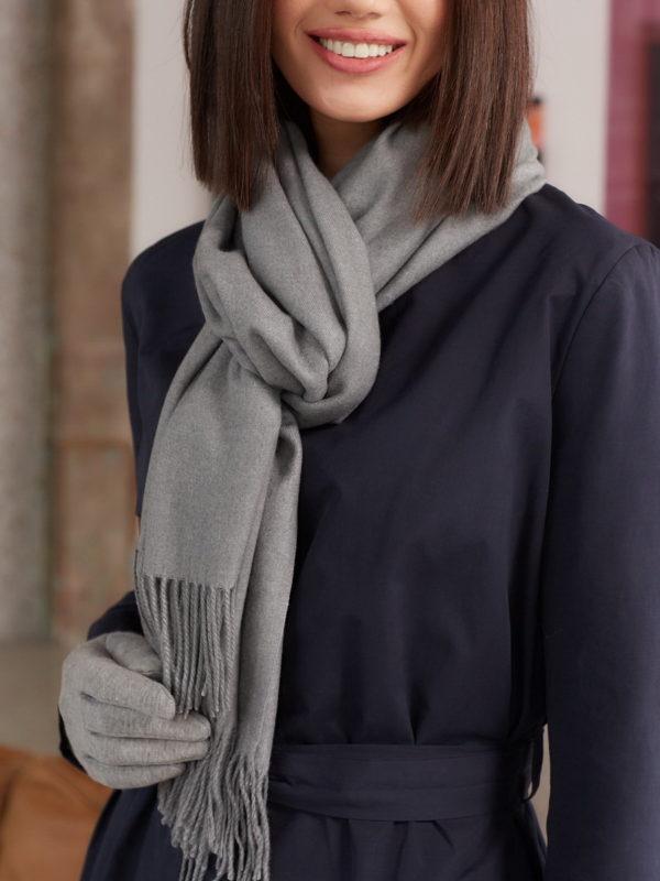 Теплый серый шарф оптом FT-21701-6