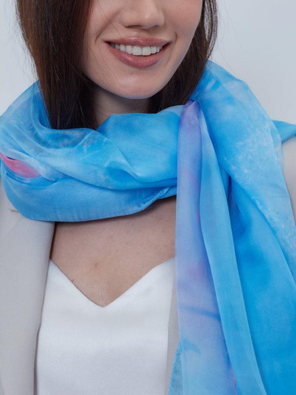 Палантин женский голубой