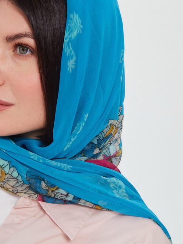 Платок женский Голубой|Розовый