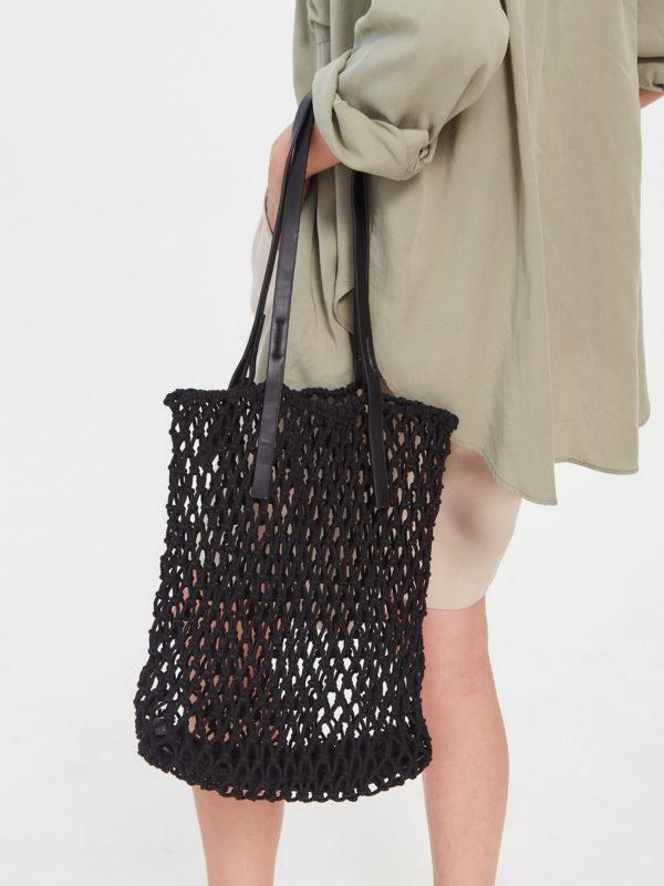 Соломеная сумка Черный