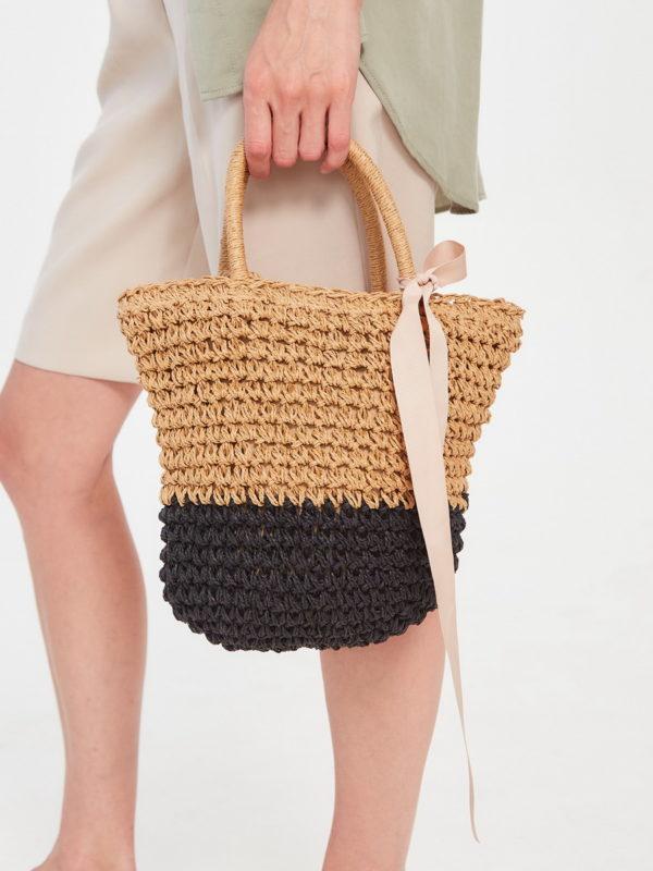 Соломеная сумка Бежевый Черный