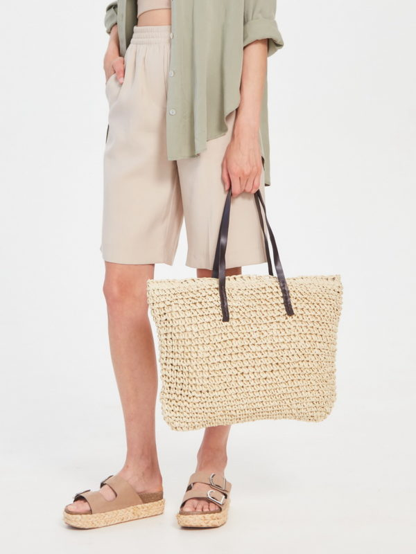 Соломеная сумка Светло-бежевый