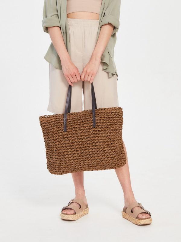 Соломеная сумка Бежевый