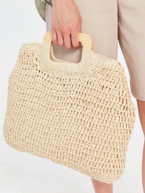 Соломенная сумка Светло-бежевый